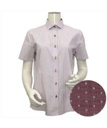 BRICKHOUSE/ウィメンズシャツ半袖形態安定 ワイド衿 エンジ系(透け防止)/502848264