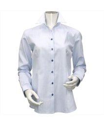 BRICKHOUSE/ウィメンズシャツ長袖形態安定 スキッパー衿 サックス系/502848280