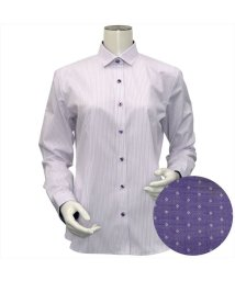 BRICKHOUSE/ウィメンズシャツ長袖形態安定 ワイド衿 パープル系/502848295