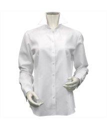 BRICKHOUSE/ウィメンズシャツ長袖形態安定 スキッパー衿 白系(透け防止)/502848303