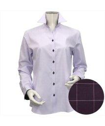 BRICKHOUSE/ウィメンズシャツ長袖形態安定 スキッパー衿 パープル系(透け防止)/502848304
