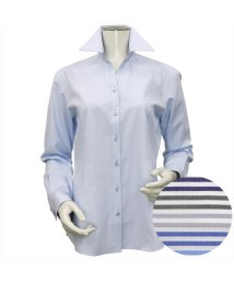 BRICKHOUSE/ウィメンズシャツ長袖形態安定 スキッパー衿 サックス系(透け防止)/502848305