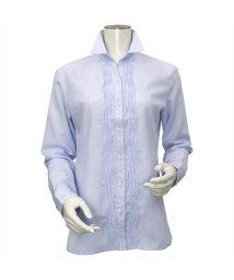 BRICKHOUSE/ウィメンズシャツ 長袖 形態安定  スキッパー衿 サックス×無地調/502848339