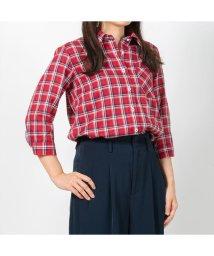 BRICKHOUSE/ウィメンズシャツシャツ 七分袖 形態安定 Wガーゼ レギュラー衿 チェック/502848359