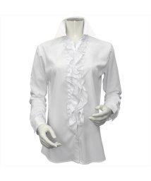 BRICKHOUSE/ウィメンズシャツ 長袖 形態安定シャツ スキッパー衿 白×ストライプ/502848360