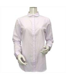 BRICKHOUSE/ウィメンズシャツ 長袖 形態安定  ラウンド衿 ピンク×ラメストライプ/502848361
