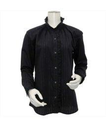 BRICKHOUSE/ウィメンズシャツ 長袖 形態安定 スタンド衿 ブラック×ラメストライプ/502848363