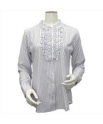 BRICKHOUSE/ウィメンズシャツ 長袖 形態安定 白×グレーストライプ/502848364