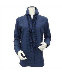 BRICKHOUSE/ウィメンズシャツ 長袖 形態安定 スキッパー衿 ネイビー×織柄/502848374