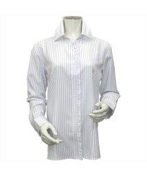 BRICKHOUSE/ウィメンズシャツ 長袖 形態安定 スキッパー衿 白×ブルーグレーストライプ/502848387