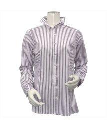 BRICKHOUSE/ウィメンズシャツ 長袖 形態安定  スタンド スキッパー衿 ストライプ/502848390