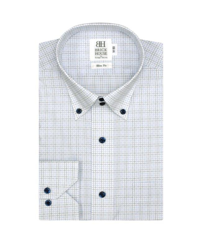 ワイシャツ長袖形態安定 ボタンダウン ネイビー系 スリム