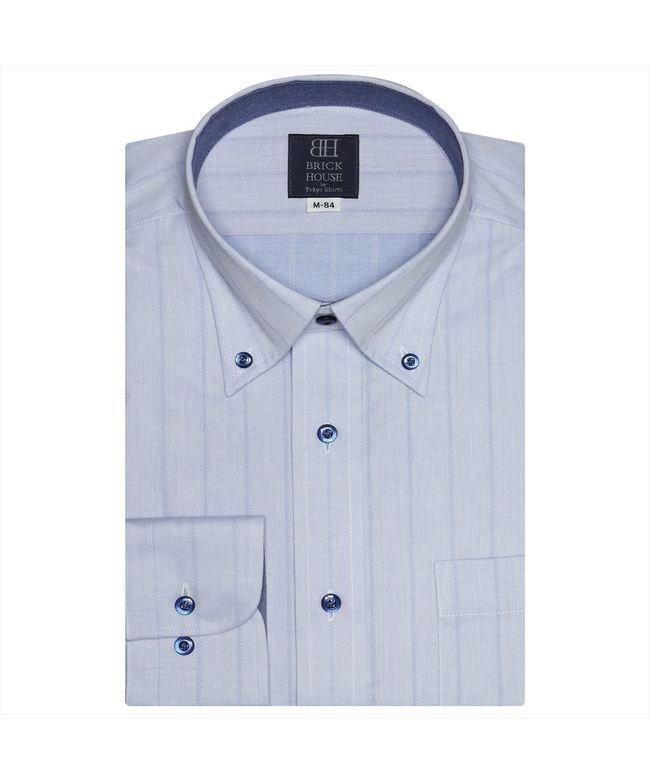 ワイシャツ長袖形態安定 ボタンダウン サックス系