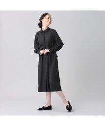 +nokto/ウィメンズシャツ 長袖 ワイド衿 ロングシャツワンピース 黒×無地調/502849118