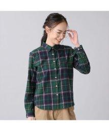 +nokto/ウィメンズシャツ カジュアルシャツ 長袖 レギュラー衿 グリーン系チェック/502849129