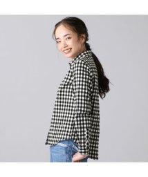 +nokto/ウィメンズシャツ カジュアルシャツ 長袖 レギュラー衿 黒×白チェック/502849132