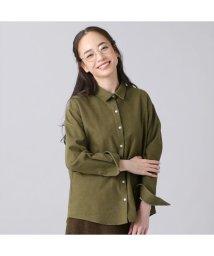 +nokto/ウィメンズシャツ カジュアル長袖 ゆったりシャツ レギュラー衿 カーキ系無地/502849134