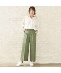 +nokto/ウィメンズシャツ  フロント釦ワイドストレートパンツ 綿100% カーキ系/502849143