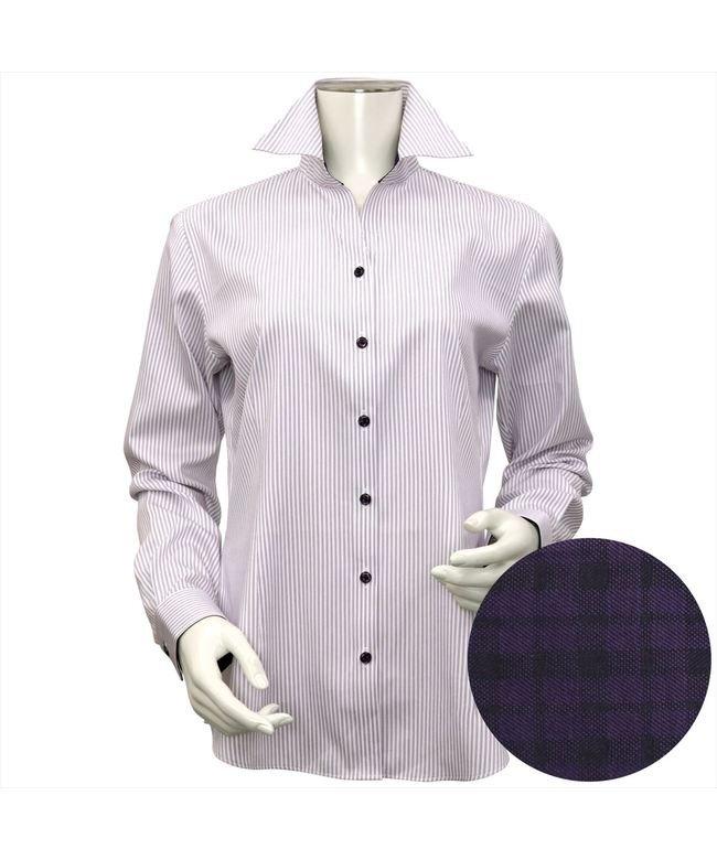 ウィメンズシャツ長袖形態安定 スキッパー衿 パープル系