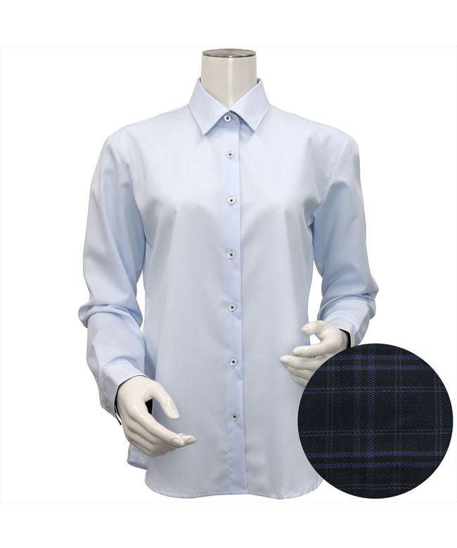 ウィメンズシャツ長袖形態安定 レギュラー衿 サックス系