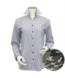 BRICKHOUSE/ウィメンズシャツ長袖形態安定 スキッパー衿 ネイビー系/502849395