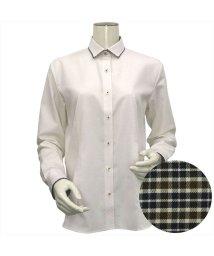 BRICKHOUSE/レディース ウィメンズシャツ 長袖 形態安定 パイピング風 ワイド衿 ベージュ×市松格子織柄/502849406
