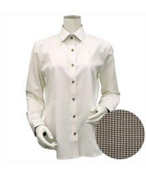 BRICKHOUSE/レディース ウィメンズシャツ 長袖 形態安定 HOT-2 マイター レギュラー衿 ライトイエロー×織柄/502849412
