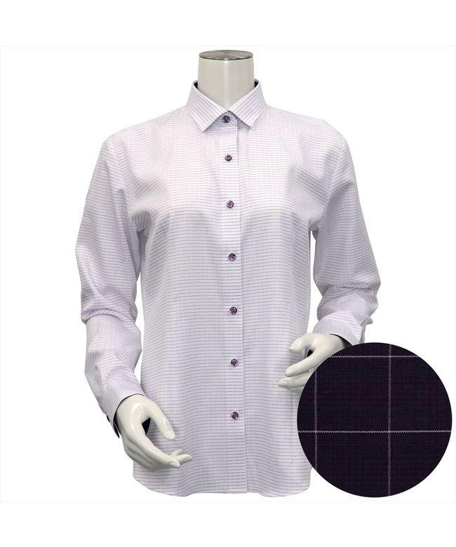 ウィメンズシャツ長袖形態安定 ワイド衿 パープル系