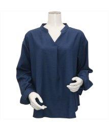 BRICKHOUSE/ウィメンズシャツ 長袖 形態安定 プルオーバー ヘンリーネック ネイビー織柄/502849453