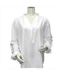 BRICKHOUSE/ウィメンズシャツ 長袖 形態安定 プルオーバー ヘンリーネック 白×織柄/502849454