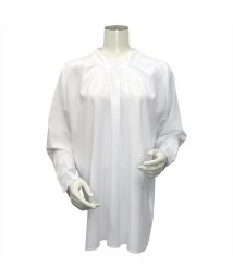 BRICKHOUSE/ウィメンズシャツ 長袖 形態安定 2Way スタンド衿 白×ストライプ織柄/502849458
