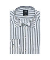 BRICKHOUSE/標準体 長袖 ワイシャツ 形態安定 ワイド 白×ブルーストライプ/502849567
