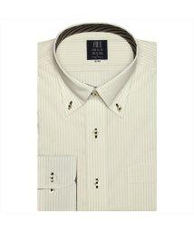 BRICKHOUSE/ワイシャツ 長袖 形態安定 ボタンダウン 白×ベージュストライプ 標準体/502850041
