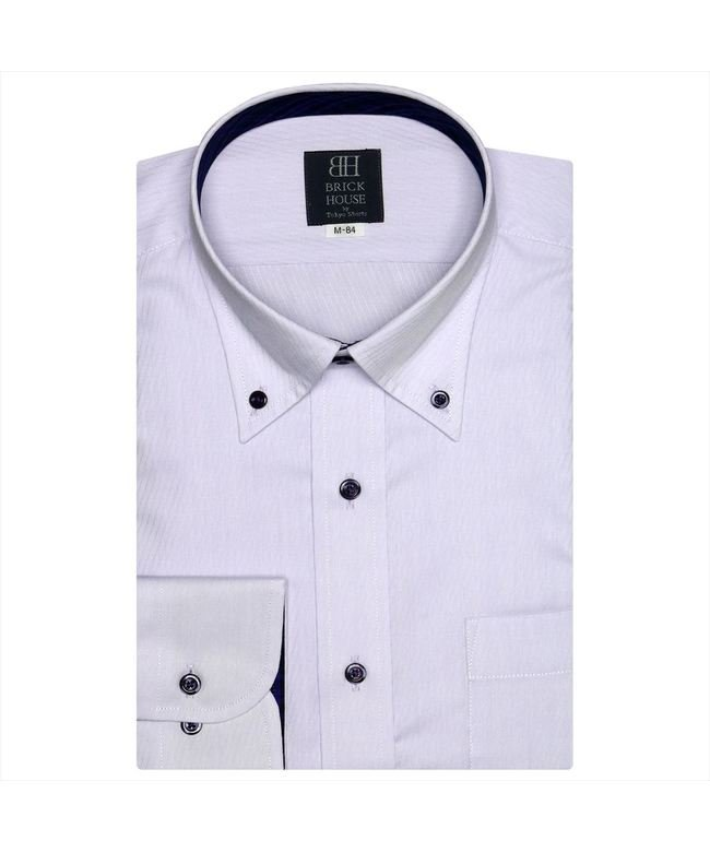 ワイシャツ長袖形態安定 ボタンダウン パープル系