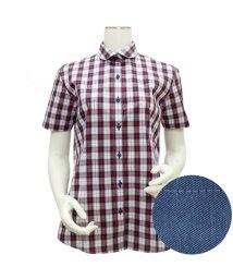 BRICKHOUSE/ウィメンズシャツ半袖形態安定 ラウンド衿 エンジ系/502850165