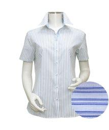 BRICKHOUSE/ウィメンズシャツ半袖形態安定 スキッパー衿 ブルー系/502850183