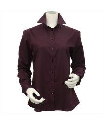 BRICKHOUSE/ウィメンズシャツ長袖形態安定 スキッパー衿 エンジ系/502850206