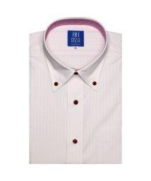 BRICKHOUSE/ワイシャツ 半袖 形態安定 ボタンダウン ピンク×白ストライプ/502850553