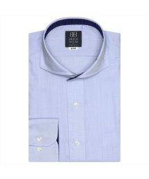 BRICKHOUSE/ワイシャツ 長袖 形態安定 ホリゾンタル ワイド サックス×ヘリンボーン 標準体/502850580