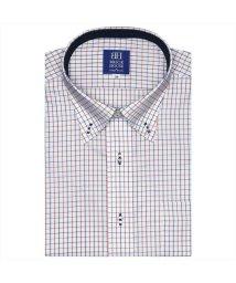 BRICKHOUSE/ワイシャツ 半袖 形態安定 ボタンダウン 白×ネイビー、エンジチェック/502850720