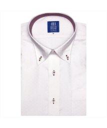 BRICKHOUSE/ワイシャツ 半袖 形態安定 ボタンダウン ピンク×ストライプ、市松格子/502850743