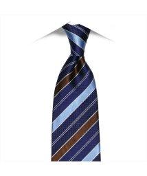 BRICKHOUSE/ネクタイビジネス 絹100% ネイビー系 ストライプ柄 (撥水機能付)/502851055