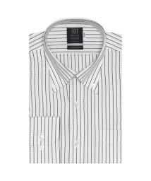BRICKHOUSE/ワイシャツ 長袖 形態安定 ボタンダウン 白×黒ストライプ 標準体/502851464