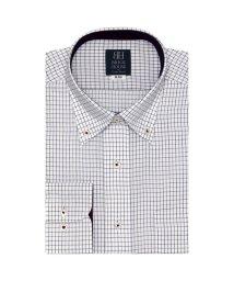 BRICKHOUSE/標準体 長袖 ワイシャツ 形態安定 ボタンダウン 白×パープル、ブラックチェック/502851470