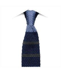 BRICKHOUSE/ネクタイビジネス 絹100% ブルー系 ボーダー柄(ニットタイ)/502851782