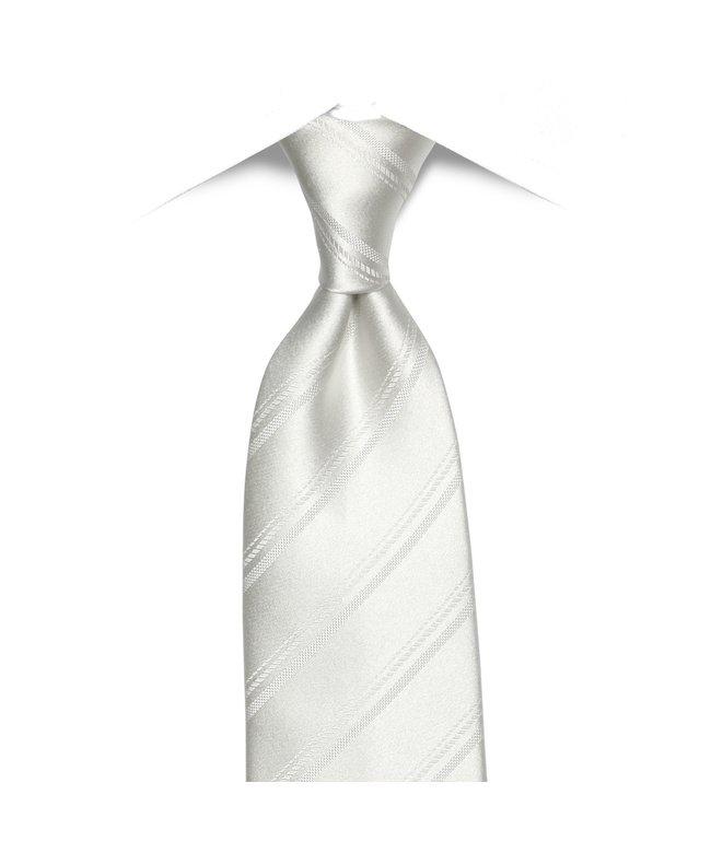 ネクタイビジネス 冠婚葬祭礼装 絹100%  白系 ストライプ織柄