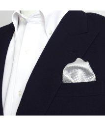 BRICKHOUSE/ポケットチーフ絹100% シルバー バスケット織柄/502854905