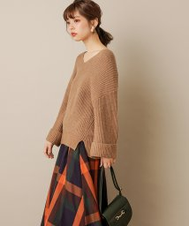 NICE CLAUP OUTLET/【natural couture】ターンバック袖畦Vネックニット/502845820