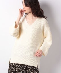 NICE CLAUP OUTLET/【every very nice claup】ターンバック袖畦Vネックニット/502845824