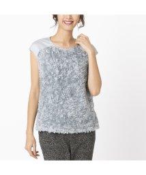 Liliane Burty/シフォンフラワー刺繍 フレンチスリーブTシャツ/502860411